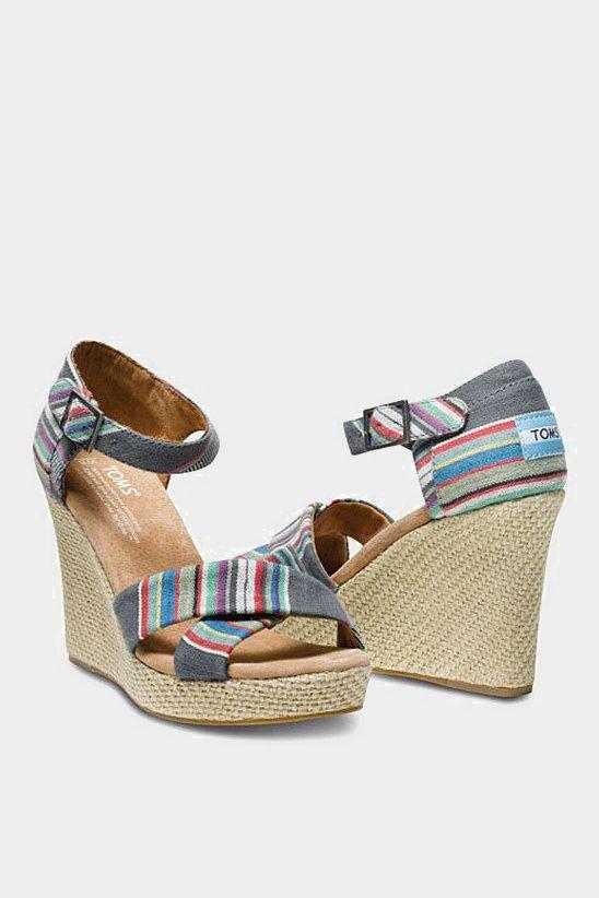 Denim Stripe Wedge Sandal