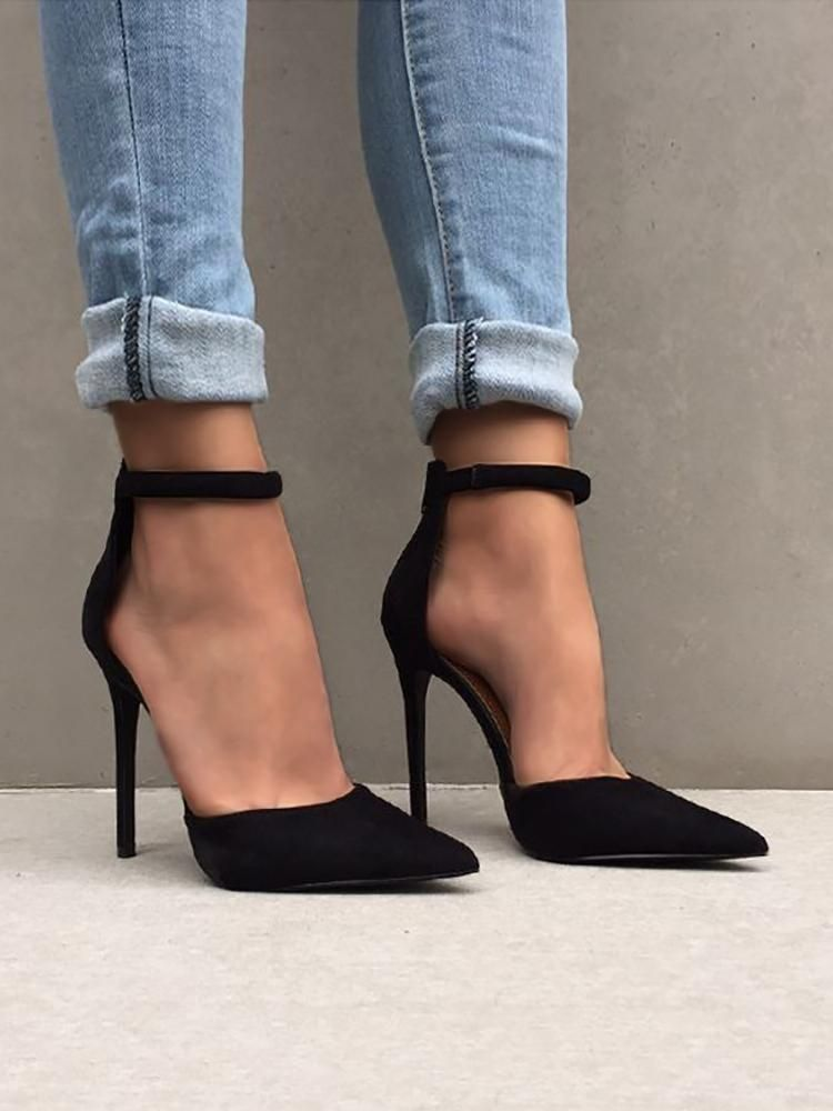 7746d2520 Fashion Ankle Strap Stiletto Pumps - Black Sapatos De Tacão Alto