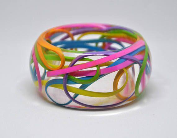 Pink Bracelet With Stars Resin
