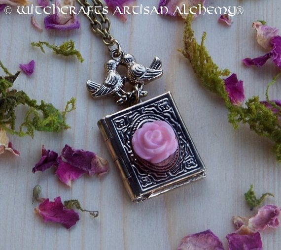 """FAIRYTALE LOVERS Lovebirds Rosebud Fairy Tale Book Pendant Locket Necklace on 24"""" Antiqued Chain in Jewelry Pouch"""