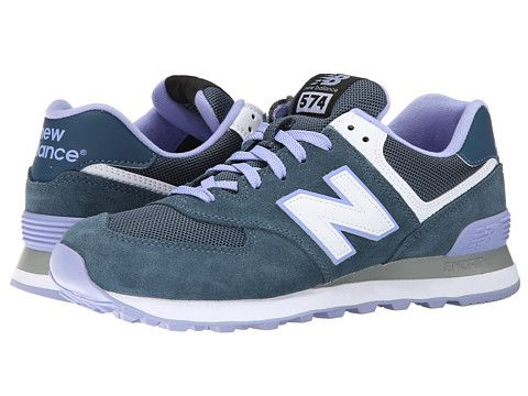 Womens Shoes New Balance Classics WL574 Grey/Purple Suede/Mesh