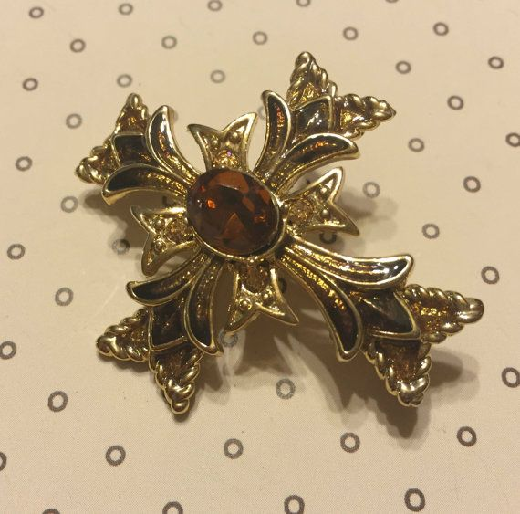 Vintage Monet Maltese Cross Brooch by VintageGemsAndPurls on Etsy