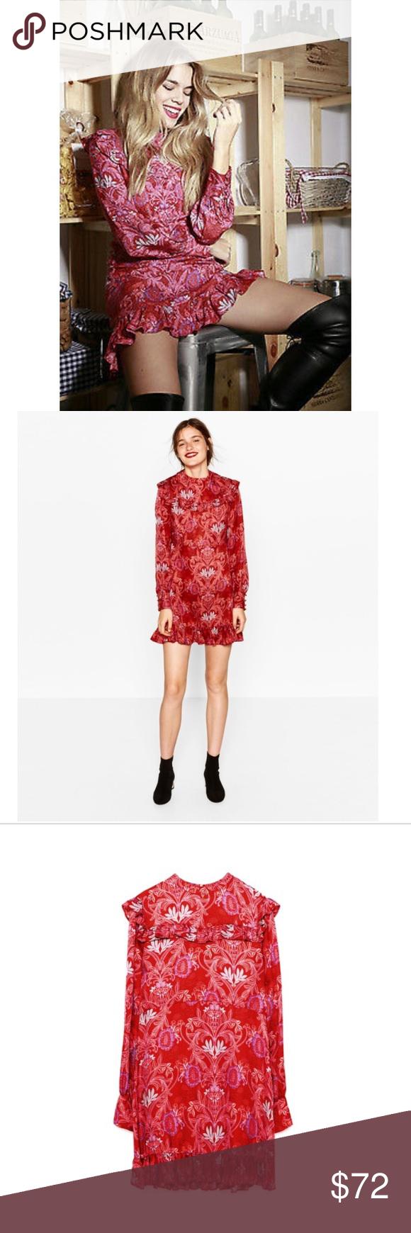 Zara jacquard red mini dress long sleeve mini dress mini dresses