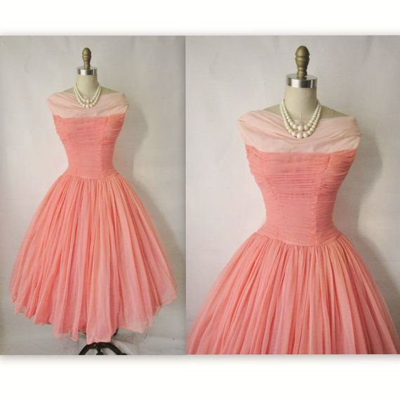 50\'s Prom Dress // Vintage 1950\'s Ruched Coral Chiffon Wedding Party ...