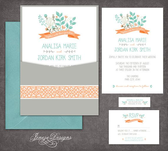 single panel pocket wedding invitation by jeneze on etsy With single pocket wedding invitations