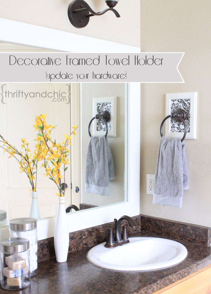 Decorative Framed Towel Holder Updating Old Hardware Bathroom