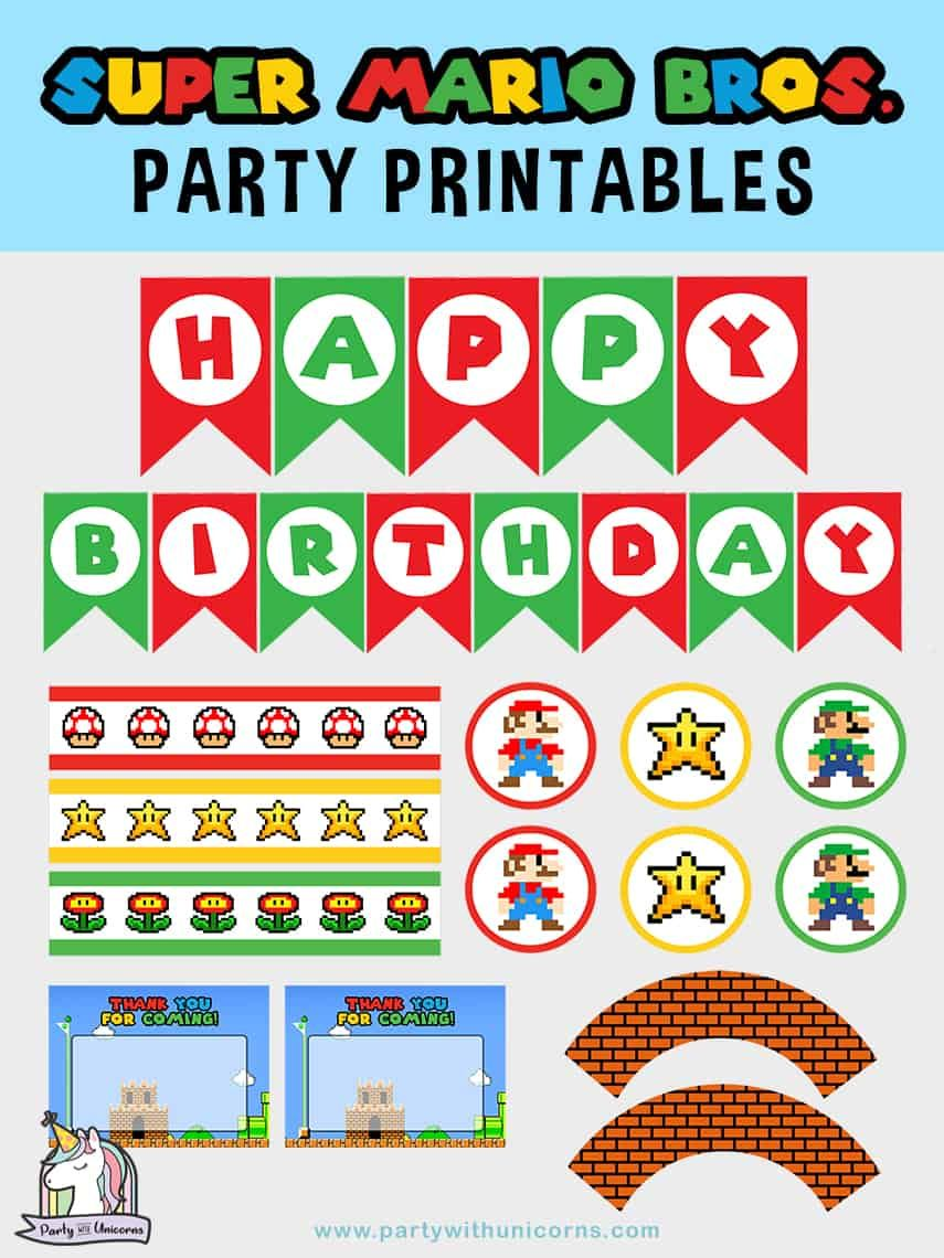 20 Awesome Super Mario Party Ideas With Free Super Mario Party Printables Super Mario Bros Birthday Party Super Mario Birthday Party Mario Bros Birthday