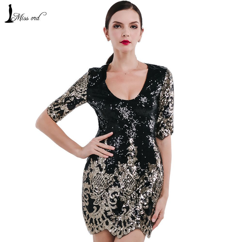 Sexy vneck short sleeve tight retro sequin cut out dress ft