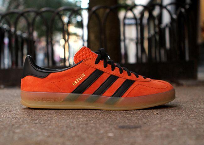 adidas gazelle black orange