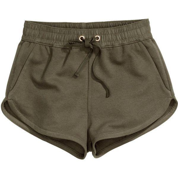 H&M Sweatshirt shorts ($11) ❤ liked on Polyvore featuring shorts, bottoms, khaki green, mini shorts, micro shorts, h&m, hot short shorts and short shorts