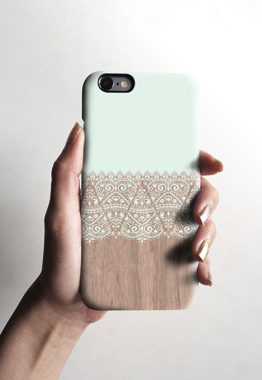 Mint wood lace iPhone 6 case, wood lace iPhone 6 plus case, matte ...