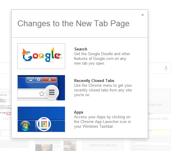 Changes to Chrome's New Tab Page