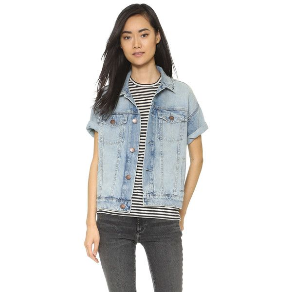 Current/Elliott The Rolled Sleeve Trucker Jacket (2.965 NOK) ❤ liked on Polyvore featuring outerwear, jackets, riad, distressed jean jacket, distressed jacket, blue jean jacket, collar jacket e distressed denim jacket