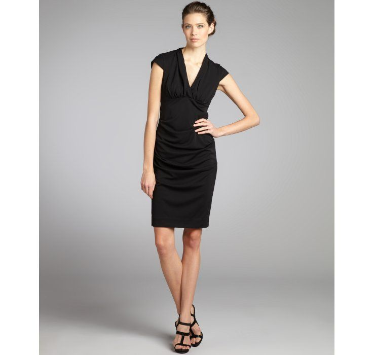 Nicole Miller Black Stretch Crepe Shirred Sides Dress Lbd