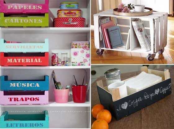 20 ideas para decorar con cajas recicladas costura - Cajas para cocina ...