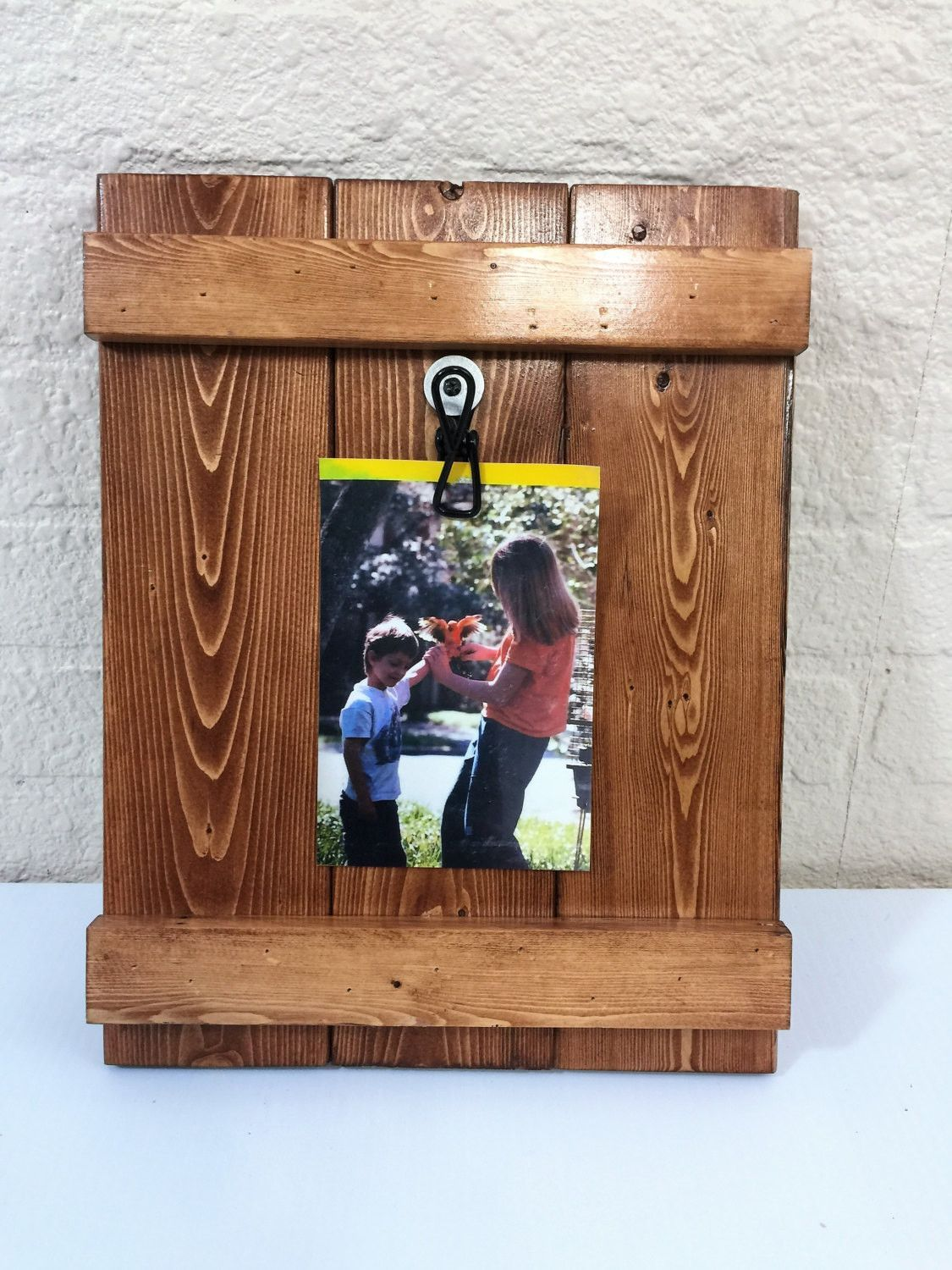 Rustic Wood Stained Picture Clip Frame 4 X 6 or 5 X 7 | Pinterest ...
