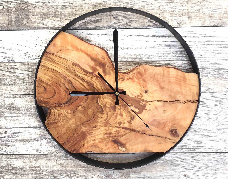 Holz Wanduhr Grosse Wanduhr Rustikale Uhr Aufgearbeitete Holz