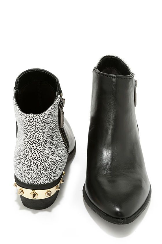 f2848a091a4e5f Circus by Sam Edelman Holt Black and White Leather Ankle Boots