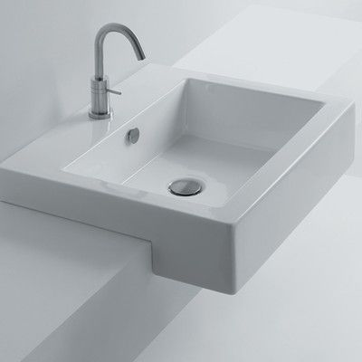 Whitestone Ceramic Square Drop In Bathroom Sink With Overflow