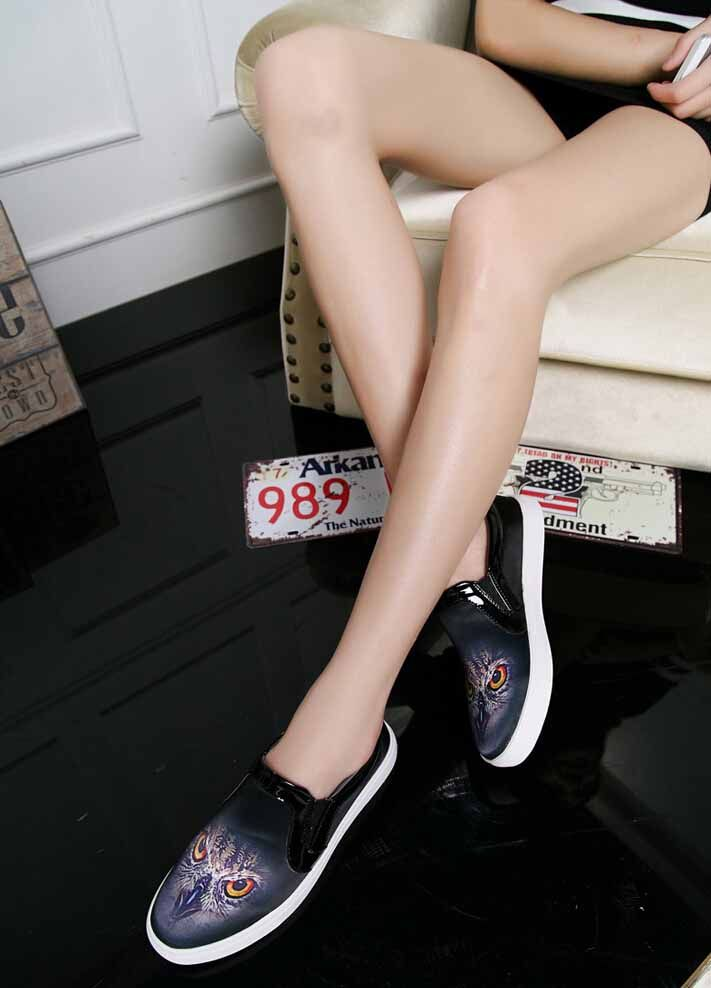 Women's #bird print easy slip on shoe #loafers, sewing thread design, animal print, Round toe, casual leisure occasions.