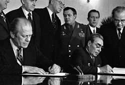 Strategic Arms Limitation Treaty agreement between Soviet leader Leonid Brezhnev and American president Jimmy Carter. Despite an accord to limit weapons between the two leaders, the agreement was ultimately scuttled in the U.S. Senate following the Soviet invasion of Afghanistan in 1979.