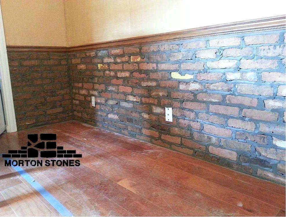An Interior Brick Wall Installation Mortonstones Brick Tiles Rustic Home Decor Brickveneer Interior W Brick Interior Wall Brick Veneer Stone Panels