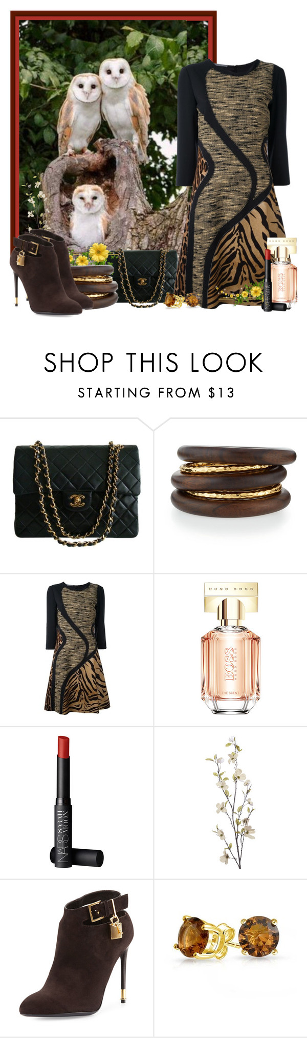 """""""Owls!"""" by brenda-joyce ❤ liked on Polyvore featuring Chanel, NEST Jewelry, Alberta Ferretti, HUGO, NARS Cosmetics, Pier 1 Imports, Tom Ford and Bling Jewelry"""