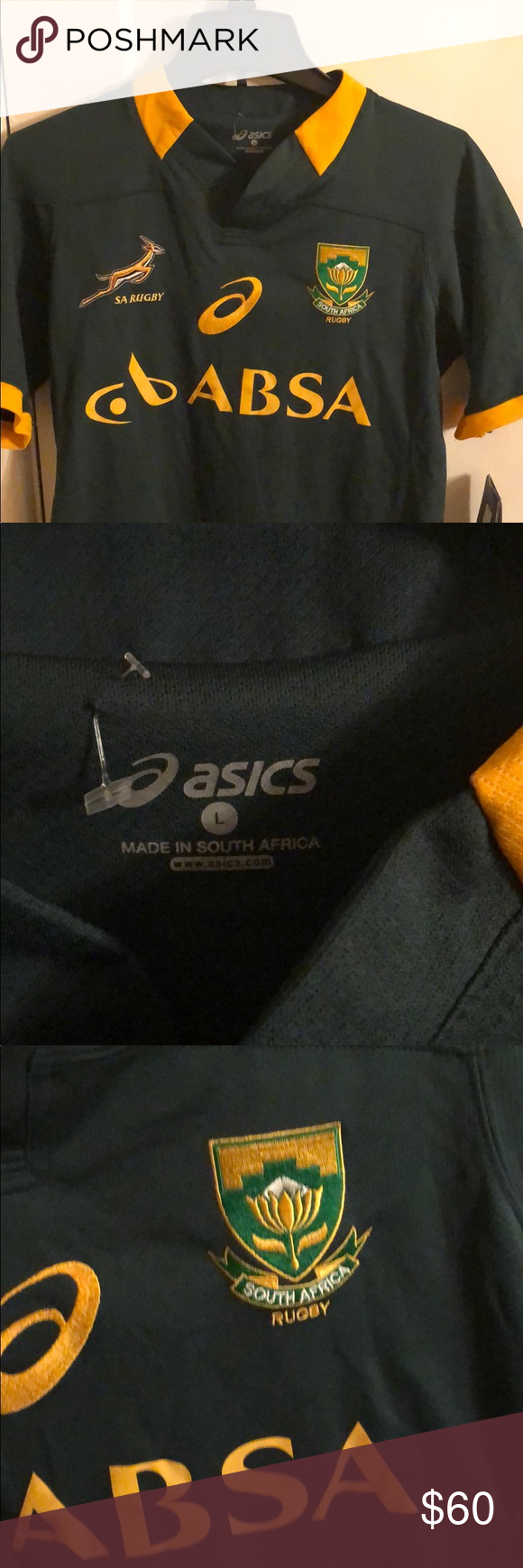 Asics South Africa National Rugby Jersey Size L Nwt With Images Rugby Jersey Asics South African Flag