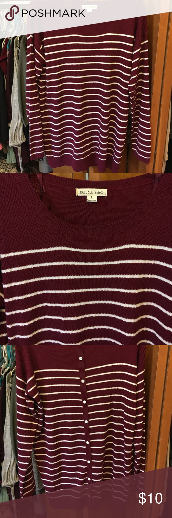 Maroon and white striped sweater | Crew neck, Stripes and Scoop neck