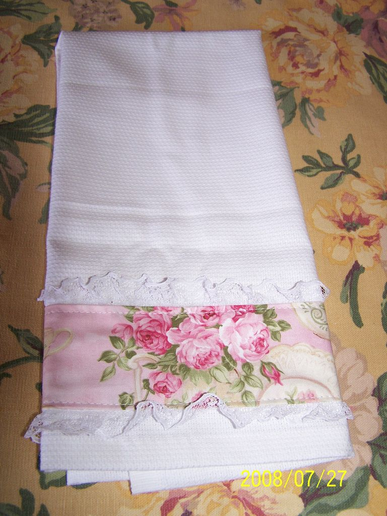 Shabby Chic Tea Towel | I Just Added Lace And A Left Over Fau2026 |