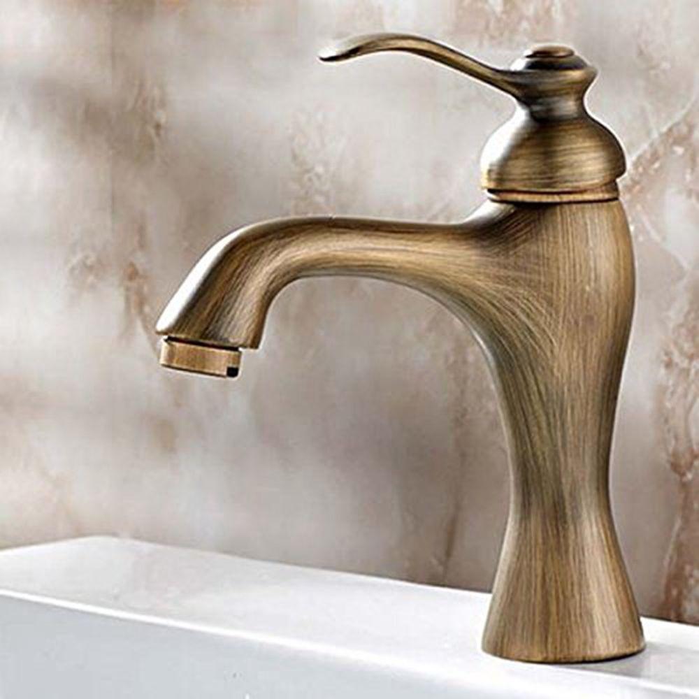 Antique Brass Basin Faucet Single Handle Hole Hot Cold Sink Bathroom ...