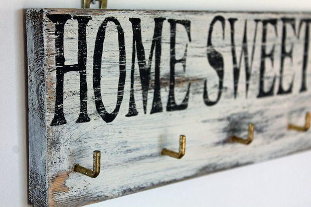 schl sselbrett aus holz vintage home sweet home schl sselbrett kasten pinterest. Black Bedroom Furniture Sets. Home Design Ideas