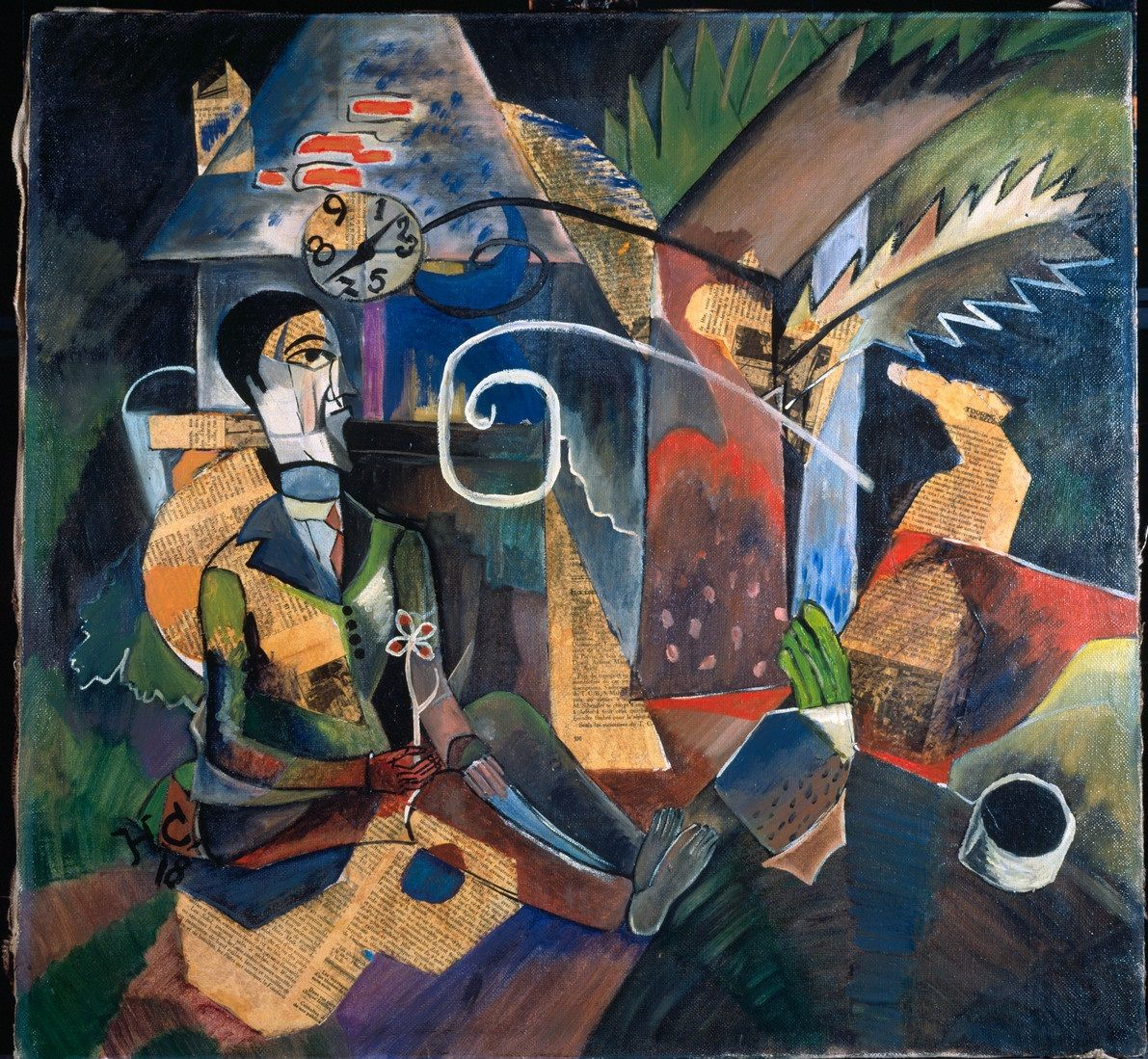 """amare-habeo: """"  Heinrich Campendonk (German-Dutch, 1889-1957) Sitting man with…"""