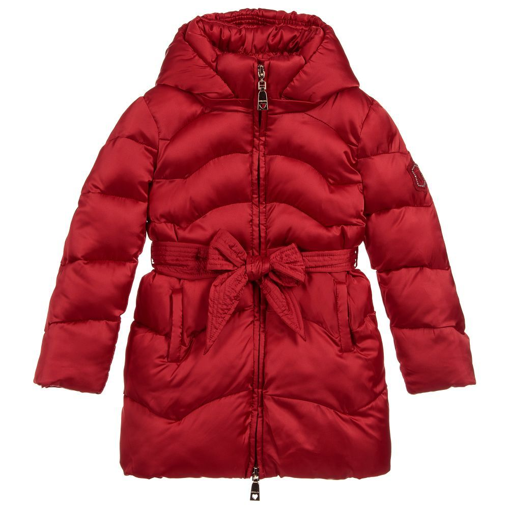 1ab6340c5 Girls Red Padded Puffer Coat for Girl by Monnalisa. Discover more beautiful  designer Coats & Jackets for kids online at Childrensalon.co.