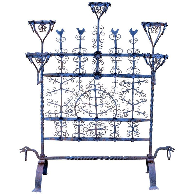 Antique Spanish Colonial Mexican Wrought Iron Yellin Fire Screen Plant Stand #sichtschutzpflanzen