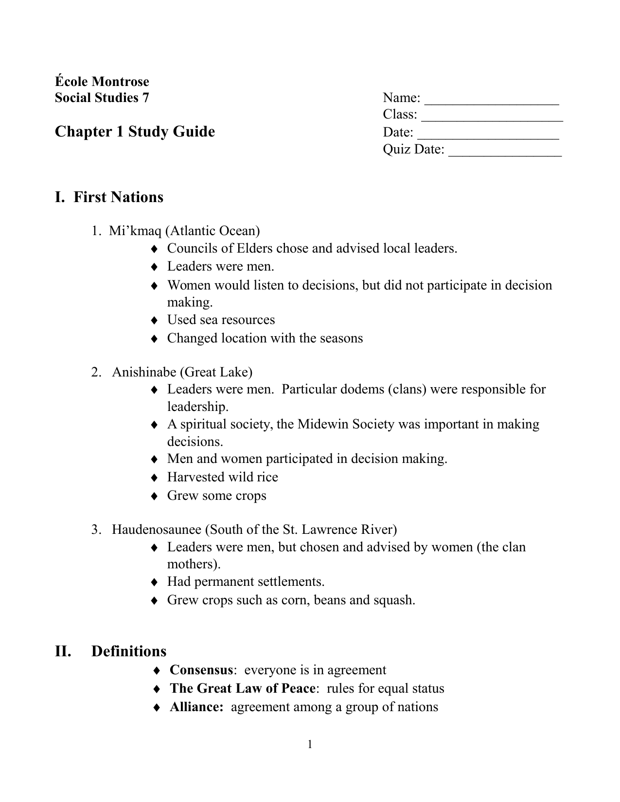 Our Canada Chapter 1 Study Guide