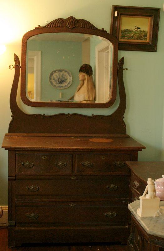 Dark Oak Carved Dresser With Swiveling Mirror I Like To Make Money