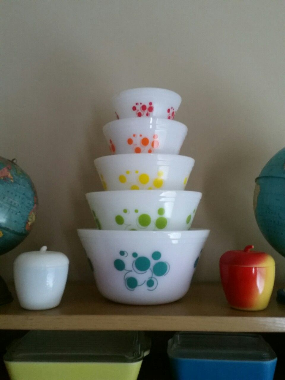 Federal Glass Atomic Dots Vintage Bowls Set Complete My