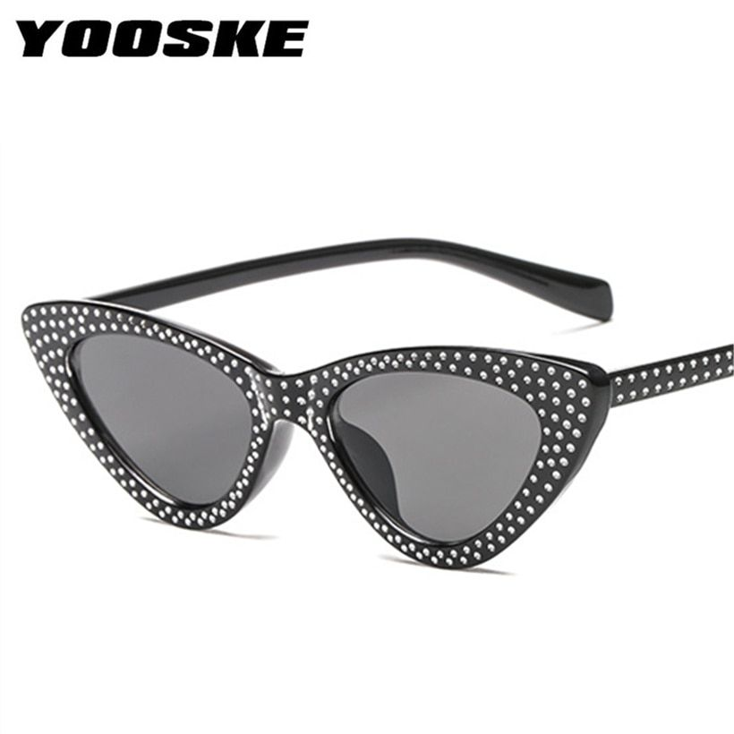 9d79faab5301 YOOSKE Luxury Rhinestone Small Sexy Cat Eye Sunglasses Women Brand 2018  FashionSunglasses Female Red Vintage Sunglass UV400