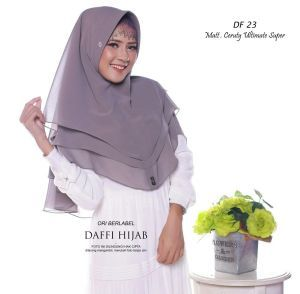 Jilbab Khimar 3 Layer By Daffi Warna Abu Tua Bahan Ceruti Ultimate