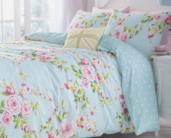 Shabby Beach House Blue Pink Roses Chic Queen Duvet Cover Set Shabby Chic Bedding Sets Floral Duvet Cover Shabby Chic Comforter