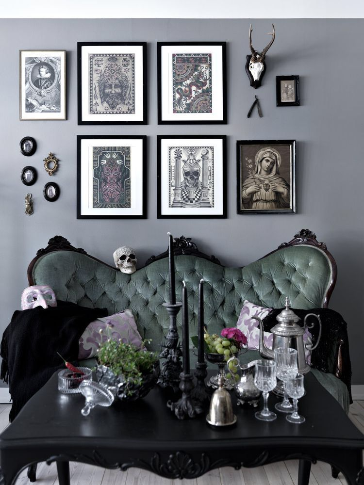 Really Cool Living Room Inspiration Love The Pictures On The Wall The Sofa And The Decor On The Gothic Home Decor Gothic Living Room Living Room Inspiration