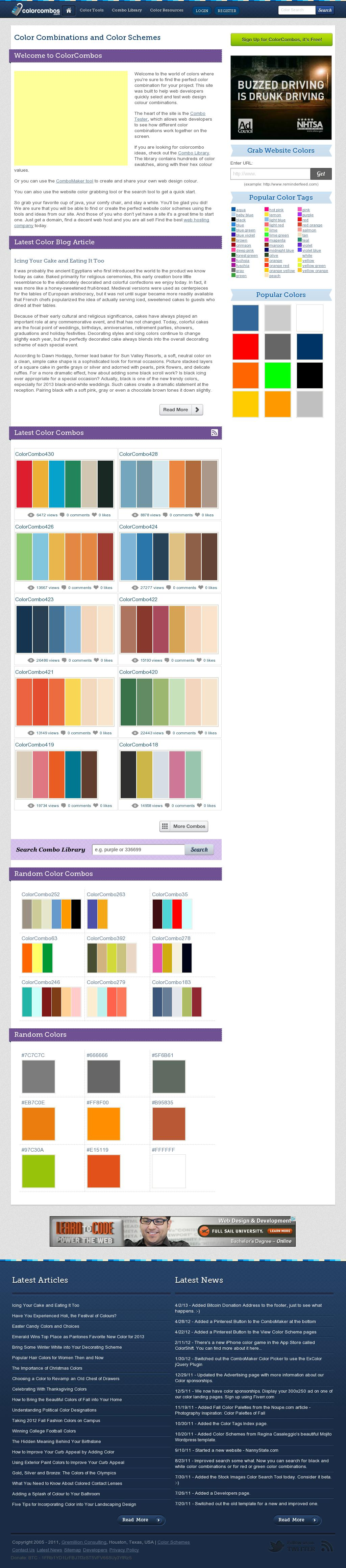 Amazing color palette site. The website http://www.colorcombos.com/ courtesy of @Pinstamatic (http://pinstamatic.com)