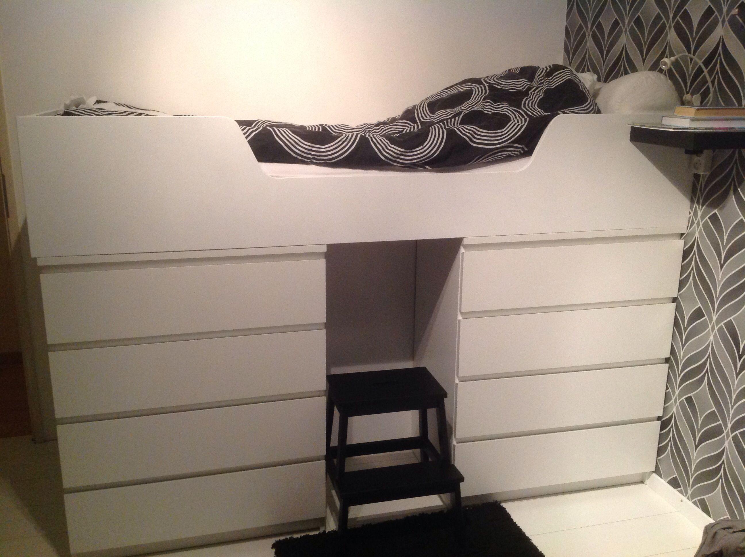 Bed Met Veel Bergruimte Gemaakt Van Twee Ikea Malm