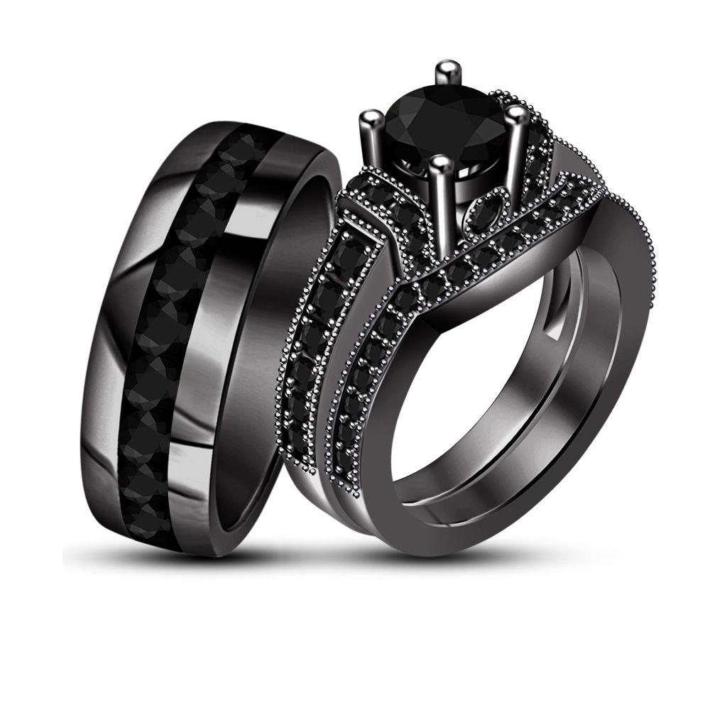 26f1459edb Beautiful Princess /Rd Cut Red Garnet Black Gold Finish.925 Silver Trio Ring  Set #solitaireWithAccentst… | http://myworld.ebay.com/br925silverczjewelry  ...
