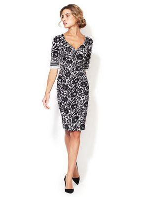 Dolce & Gabbana Silk Lace Print Ruched Dress