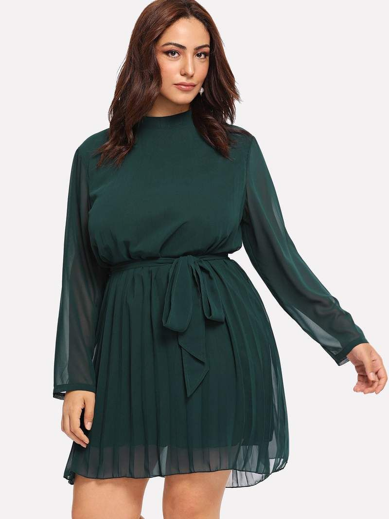 5403ab4de84 Plus Self Tie Waist Solid Dress. Plus Self Tie Waist Solid Dress Cheap  Party Dresses