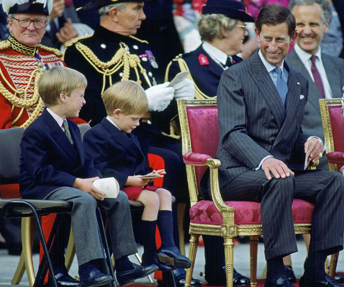The Prince Of Wales With His Sons, Princes William And