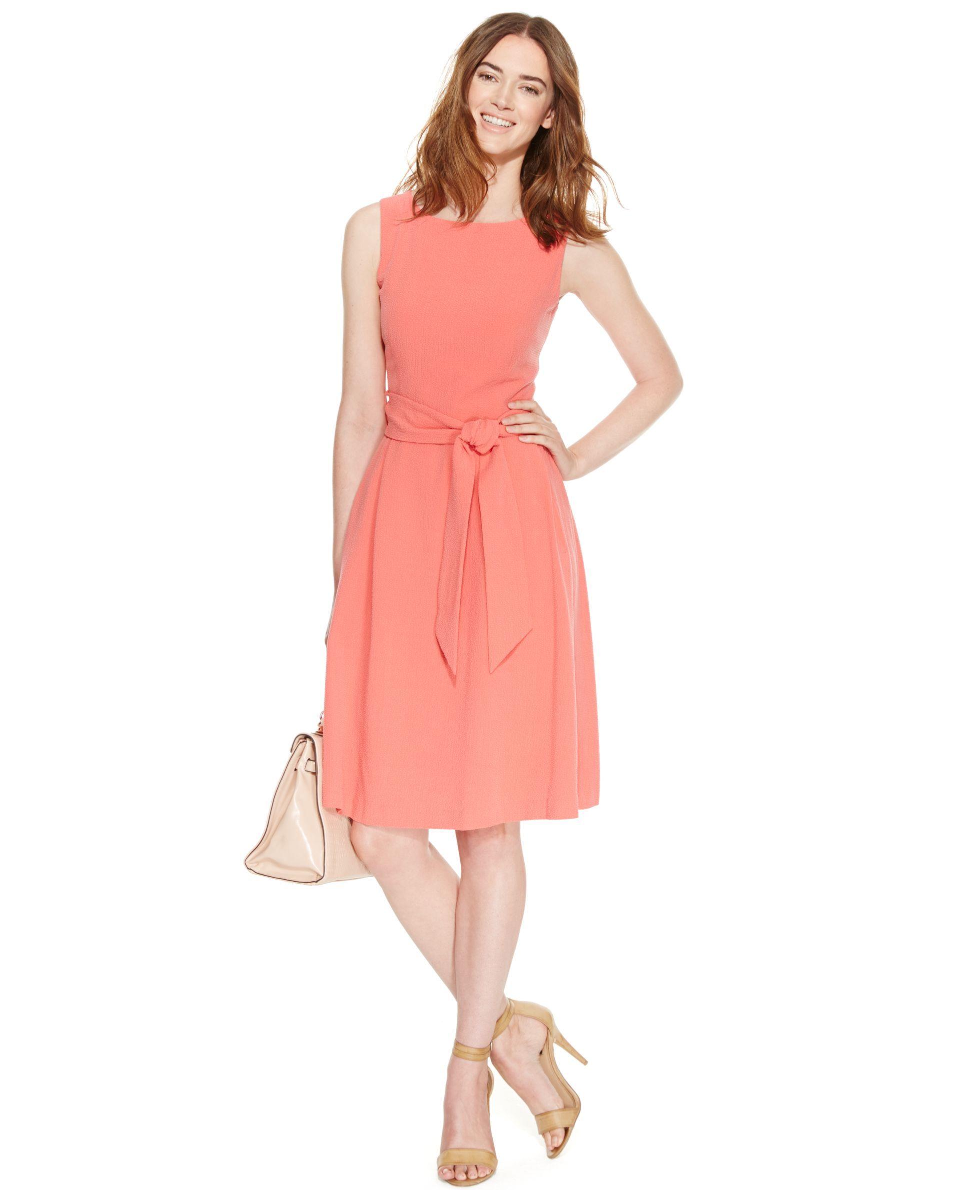 Anne Klein Sleeveless Belted Seersucker Dress | Products | Pinterest