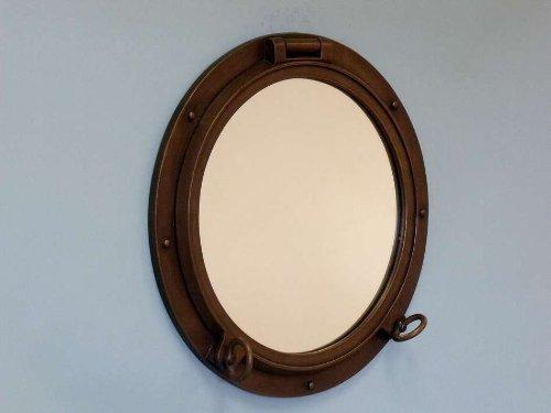 8 Hampton Nautical Brushed Nickel Decorative Ship Porthole Nautical Mirror